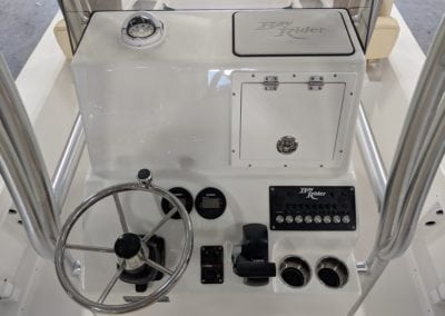 the controls and steering wheel of a bayrider boat