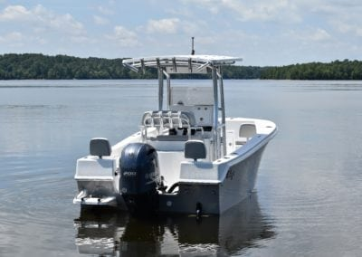 a still white challenger on the water back view
